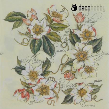 Viragos szalveta - Christmas Roses - Decohobby