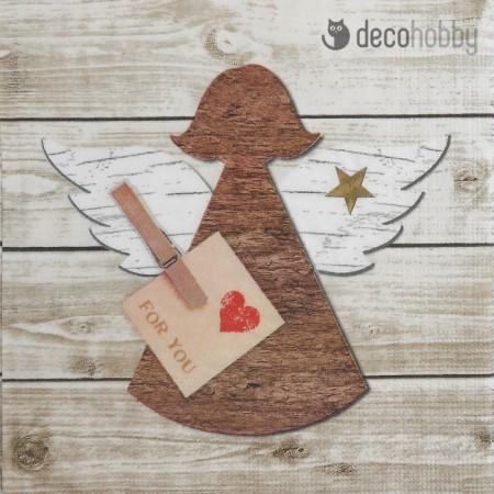 Karacsonyi szalveta - Angel red heart - Decohobby