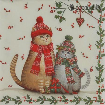 Karacsonyi szalveta - Christmas Cats - Decohobby