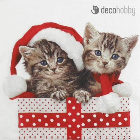 Karacsonyi szalveta - Christmas Kitten - Decohobby