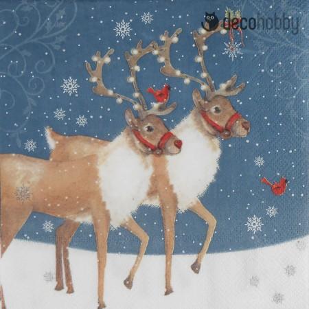 Karacsonyi szalveta - Christmas Reindeers - Decohobby