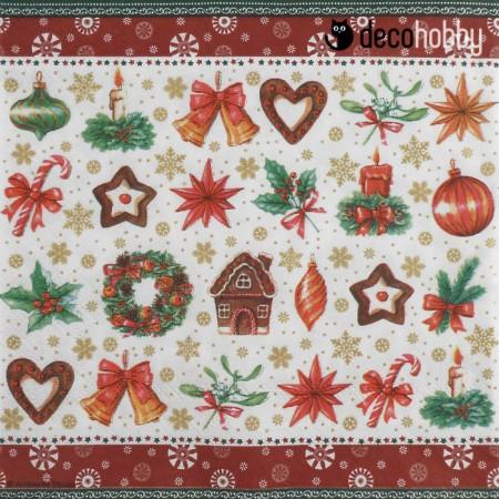 Karacsonyi szalveta - Christmas parts red - Decohobby