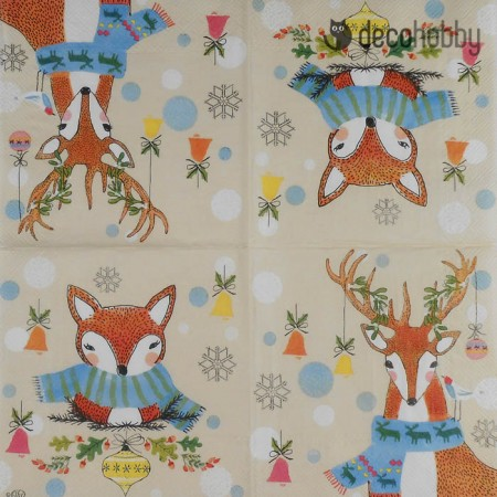 Karacsonyi szalveta - Dotty Deer and Funny Fox - Decohobby