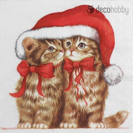 Karacsonyi szalveta - Dressed Kitten - Decohobby