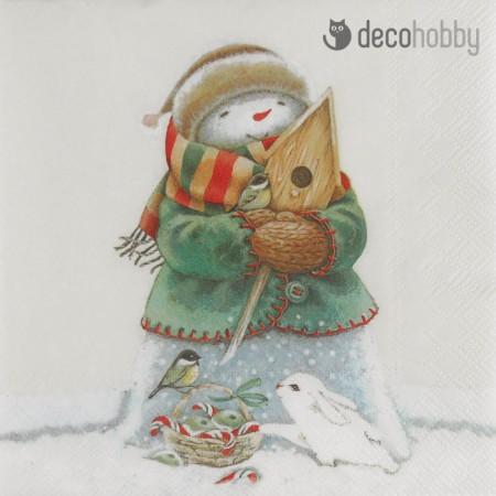 Karacsonyi szalveta - Friendly Snowman - Decohobby