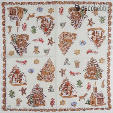 Karacsonyi szalveta - Gingerbread Village - Decohobby
