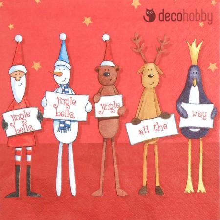 Karacsonyi szalveta - Jingle all the Way red - Decohobby