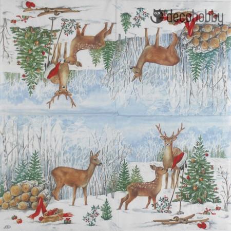 Karacsonyi szalveta - Looking for Santa - Decohobby