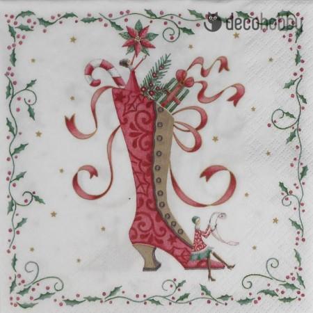 Karacsonyi szalveta - Mrs Santas Boot - Decohobby