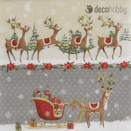 Karacsonyi szalveta - Reindeer Sleigh - Decohobby
