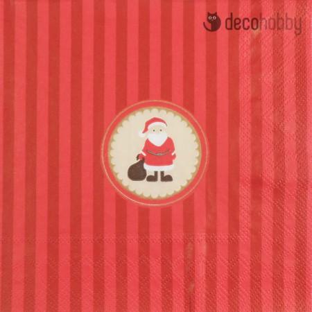 Karacsonyi szalveta - Santa Medaillon red - Decohobby