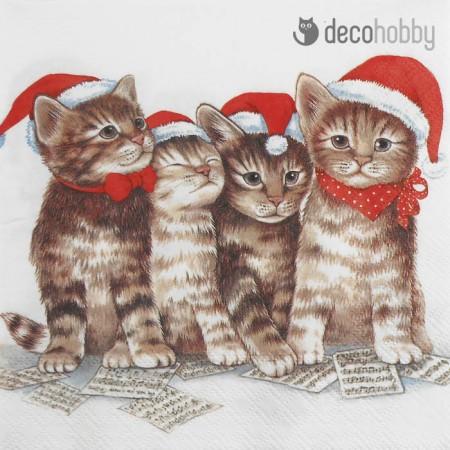 Karacsonyi szalveta - Singing Cats - Decohobby