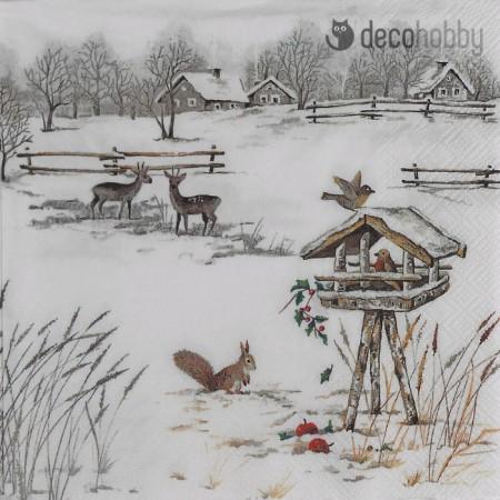 Karacsonyi szalveta - Snowy Garden - Decohobby