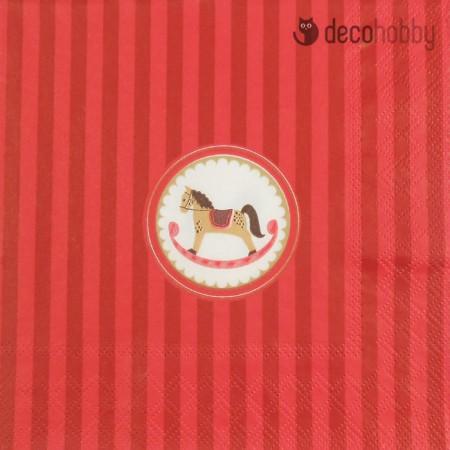 Karacsonyi szalveta - Wooden Rocking Horse - Decohobby