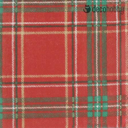 Kockas szalveta - Woven Check red green - Decohobby