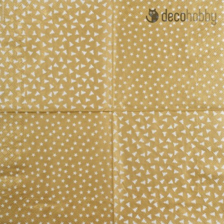 Mintas szalveta- Stars and Trees Gold - Decohobby