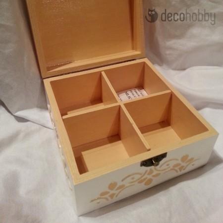 Arany virag 3D 4 rekeszes teasdoboz 02 - Decohobby