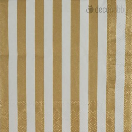 Csikos szalveta - Stripes Gold - Decohobby