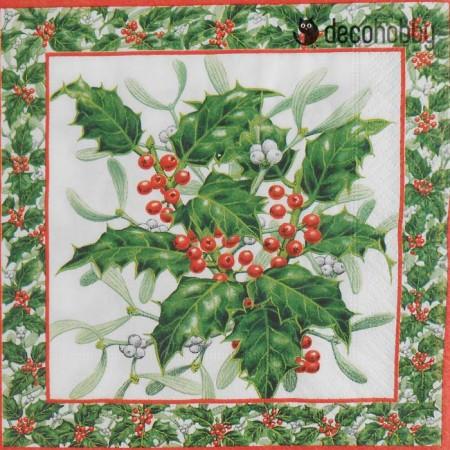 Karacsonyi szalveta - Mistletoe&ilex - Decohobby