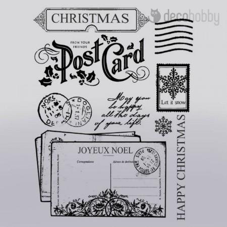 Gumi pecsetelo 14x18cm - Christmas PostCard - Stamperia WTKCC50 - Decohobby