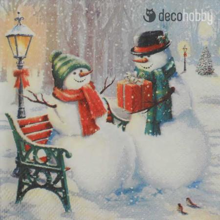 koktelszalveta-25x25cm-snowman-surprise-decohobby