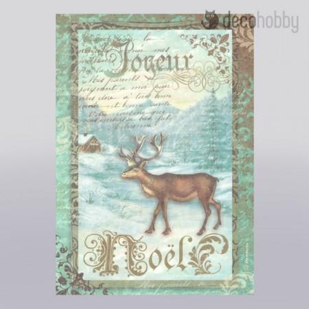 stamperia-rizspapir-a4-dfsa4039-joyeux-noel-reindeer-decohobby